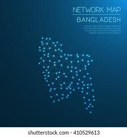 Bangladesh network map. Abstract polygonal Bangladesh network map design with glowing dots and lines. Map of Bangladesh networks. Vector illustration.