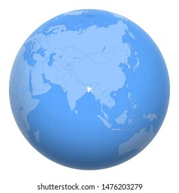Bangladesh on the globe. Earth centered at the location of the People's Republic of Bangladesh. Map of Bangladesh. Includes layer with capital cities.