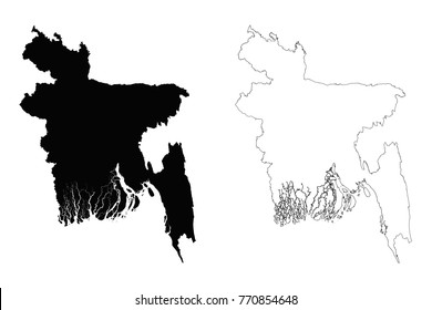 Bangladesh outline map - detailed isolated vector country border contour maps of Bangladesh on white background