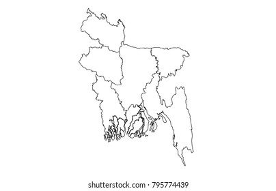 bangladesh outline map. detailed isolated vector country border contour maps on white background.