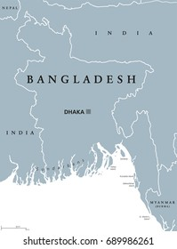 Bangladesh political map with capital Dhaka and borders. English labeling. Peoples Republic of Bangladesh. Country in South Asia on the Bay of Bengal. Gray illustration. Vector.