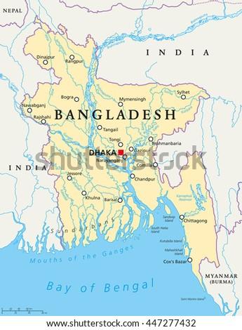 Bangladesh Political Map Capital Dhaka National Stock Vector