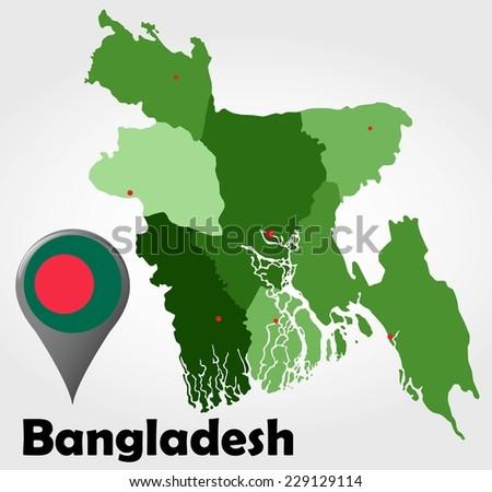 Bangladesh Political Map Green Shades Map Stock Vector Royalty Free