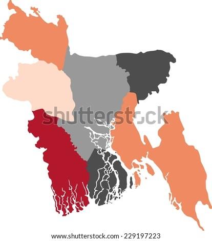 Bangladesh Political Map Pastel Colors Stock Vector Royalty Free