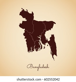 Bangladesh region map: retro style brown outline on old paper background. Detailed map of Bangladesh regions. Vector illustration.