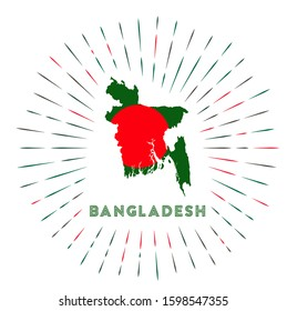 Bangladesh sunburst badge. The country sign with map of Bangladesh with Bangladeshi flag. Colorful rays around the logo. Vector illustration.