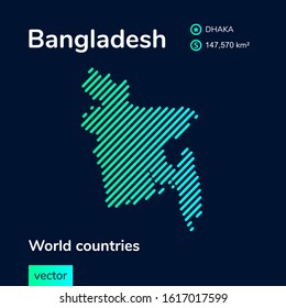 Bangladesh vector map in blue and green colors