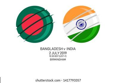 Bangladesh vs India, 2019 Cricket Match, Vector illustration