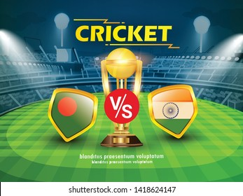 Bangladesh vs india Cricket Championship banner with winning golden trophy and stadium background
