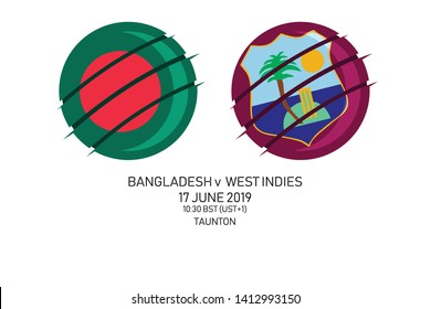 Bangladesh vs West Indies, 2019 Cricket Match, Vector illustration