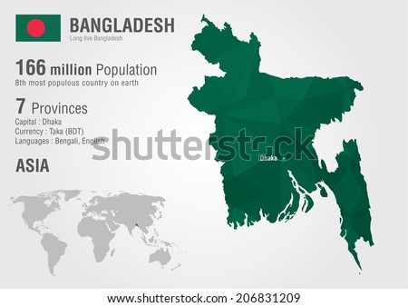 Bangladesh World Map Pixel Diamond Texture Stock Vector (Royalty ...