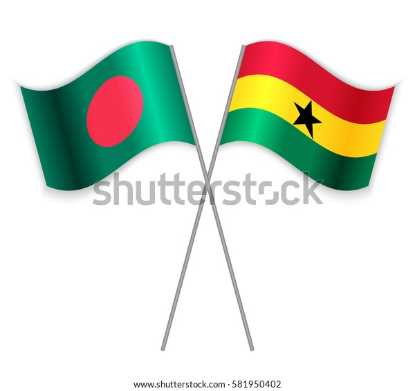 Bangladeshi and Ghanaian crossed flags. Bangladesh combined with Ghana isolated on white. Language learning, international business or travel concept.