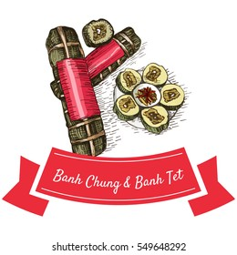 Banh Chung and Banh Tetcolorful illustration. Vector illustration of Vietnamese cuisine.