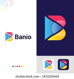 """Banio - Logo Design. The symbol shows an abstract Letter """"B""""."""