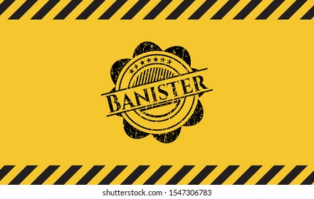 Banister inside warning sign, black grunge emblem. Vector Illustration. Detailed.