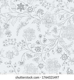Banjara Floral pattern on grey background. Watercolor print. Seamless texture. Elegant template for fashion prints. Printing with in hand drawn style