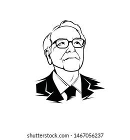 Banjarmasin, Indonesia - August 01 2019: Bill Gates line art vector portrait