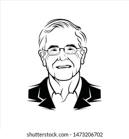 Banjarmasin, Indonesia - August 08 2019: Charles Koch line art vector portrait