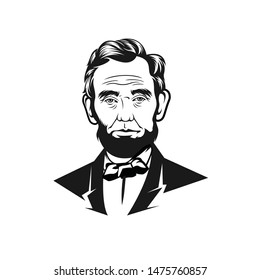 Banjarmasin, Indonesia - August 11 2019 : Abraham Lincoln (1809-1865) US President 1847 – 1849 line art vector portrait