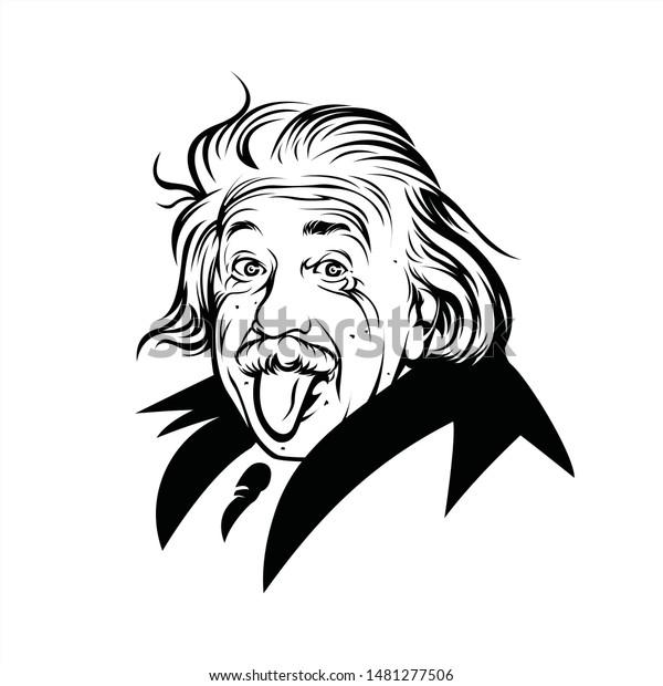 Banjarmasin, Indonesia - August 18 2019: Albert Einstein line art vector portrait