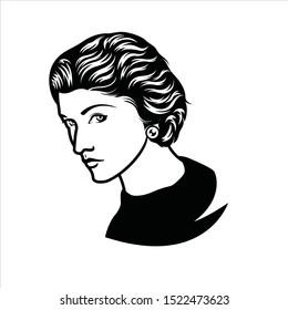 Banjarmasin, Indonesia - Oktober 05 2019: Coco Chanel line art vector portrait