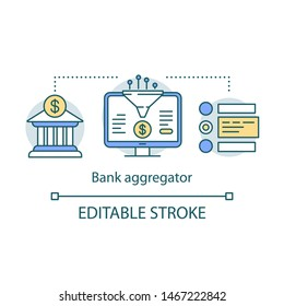 Bank aggregator service concept icon. Data compiling, account information gathering idea thin line illustration. Online banking company services. Vector isolated outline drawing. Editable stroke
