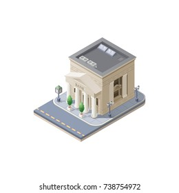 Bank architecture public building with environment. Symbol of finance, confidence and security. Icon isometric style. Vector illustration isolated on white background.