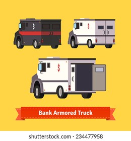 Bank armored cars. Flat illustration. EPS 10 vector.