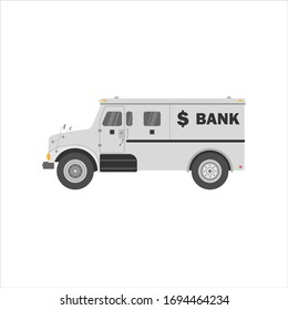 Bank armored cash truck side view. Utility security van. Vector flat illustration