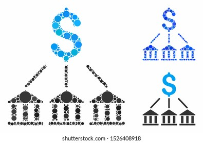 Bank association composition for bank association icon of filled circles in variable sizes and shades. Vector filled circles are organized into blue collage.