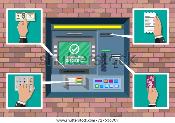 Bank Atm Automatic Teller Machine Program Stock Vector