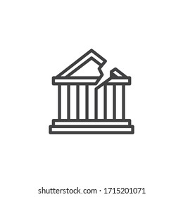 Bank bankruptcy line icon. linear style sign for mobile concept and web design. Broken bank building outline vector icon. Symbol, logo illustration. Vector graphics