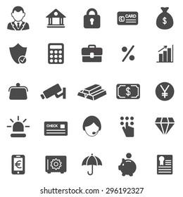 Bank black icons set.Vector