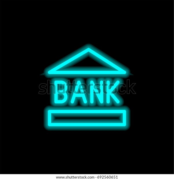 Bank blue glowing neon ui ux icon. Glowing sign logo vector