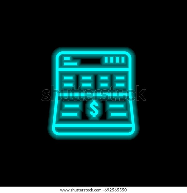 Bank blue glowing neon ui ux icon. Glowing sign logo vector