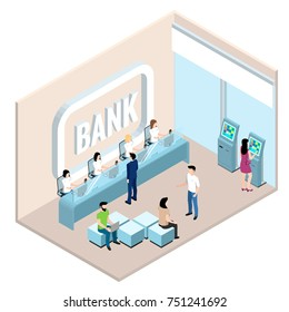 bank branch, employees and clients of the bank, interior in isometric style