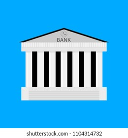 Bank buildiing isolated. Architecture bank, financial institution, architectural classical exterior. Vector illustration