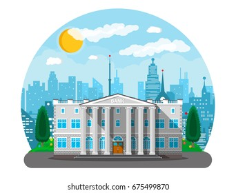 Bank building with city skylines and trees behind. Road, street. Blue sky with clouds and sun. Vector illustration in flat style