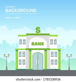 Bank building in city space with road on flat syle background concept. Bank  background. Modern illustration slider site page. Grain texture and noise effect.