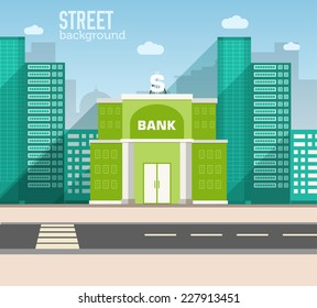 bank building in city space with road on flat style background concept. Vector illustration design
