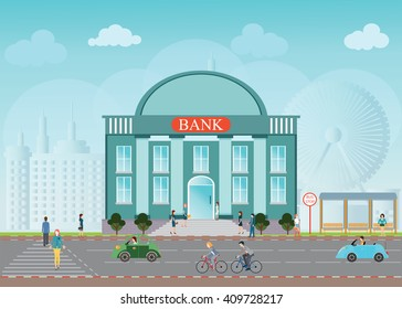 Bank building exterior in city space skylines behind background, bus station, people walking on a crosswalk conceptual Vector illustration design.