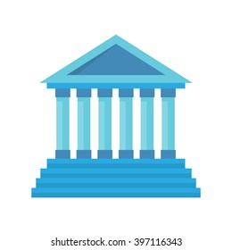 Bank building facade. Bank isolated vector icon. Blue with column. Classic court illustration