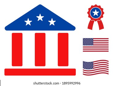Bank building icon in blue and red colors with stars. Bank building illustration style uses American official colors of Democratic and Republican political parties, and star shapes.
