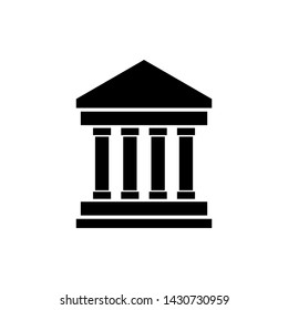 Bank building icon. Court building icon isolated. Museum vector illustration on white background.
