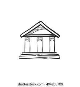 Bank building icon in doodle sketch lines.