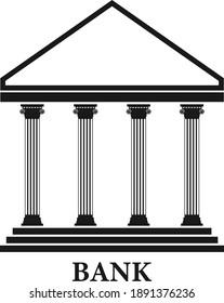 Bank building icon. Bank facade. Vector, cartoon illustration. Vector.