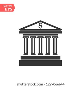 bank building icon, flat design best vector icon EPS10