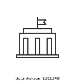 Bank building icon in flat style. Government architecture vector illustration on white isolated background. Museum exterior business concept.