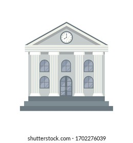 Bank Building icon in flat style isolated on white background. Vector illustration.