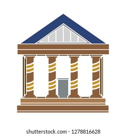 Bank building icon -government illustration-column sign-university Illustration-courthouse Vector-federal Isolated-architecture Symbol